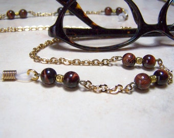 Chain for Glasses, CLEARANCE Red Tiger Eye, On a Gold Chain, One of a Kind Eyeglass Chain, 25 Inches,