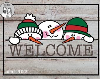 Hand drawn welcome snowmen Faces & Snowman split frame SVG, welcome snowmen, Silhouette Cut, Cricut SVG, christmas svg, split frame