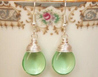 Light Green Earrings , Peridot Earrings , August Birthstone , Wire Wrapped Dangle Earrings