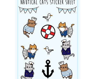 Cute Sticker Sheet Nautical Cat Stickers Sailor Cat Kawaii Stickers Cute Gift Idea