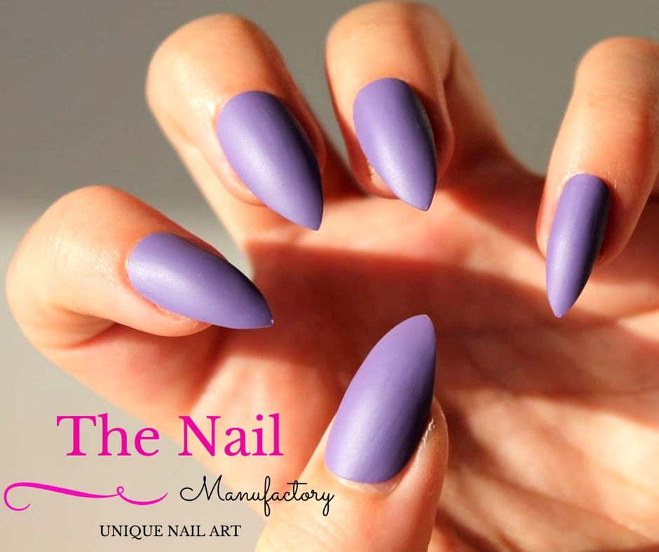 Purple matte Fake Nails Set Lilac Handpainted False Nails