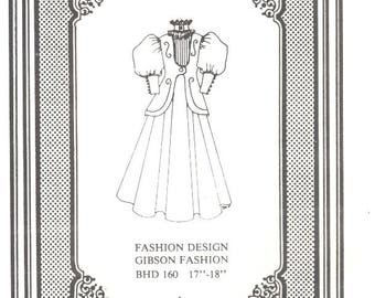 Doll dress gown Antique vintage look sewing pattern uncut 106