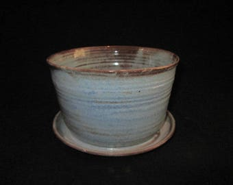 6.75 inch wide planter in blue and brown, stoneware pottery, flower pot