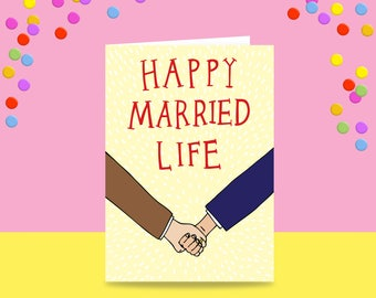 Greeting Card - Happy Married Life - Two Men Version | Marriage Card | Wedding Card