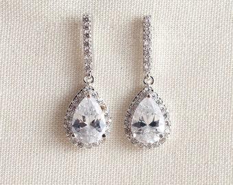 Wedding Bridal Chandelier Cubic Zirconia Swarovski Crystal Silver Earrings JSB10092ESilver