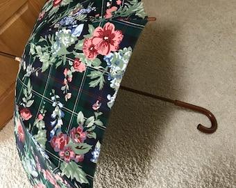 Vintage Ralph Lauren Floral Umbrella woodem handle