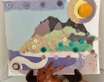 Contemporary Art - Landscape - Button Art - abstract - Mixed Media Art - Vintage Buttons -  Handmade Paper - Maui Mountains - Original