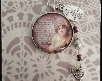 Sassy Vintage Gift For Her Glass Necklace Alcohol Feminist Funny