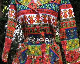 Aztec Mayan print 1960s 60s hippie jacket for Cinco de Mayo and Easter Time,American made 1960s 60s jacket for spring, Cinco de Mayo party