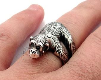 Sterling Silver Chimpanzee Ring, Monkey Ring, Silver Ring, Animal Ring, Chimp Ring, Ape Ring, Monkey Jewelry, Chimpanzee, Animal Jewelry