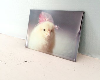 Chicks in Hats Chicken in A Pink Fascinator Hat Rigid Magnet