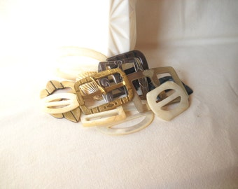 Vintage Buckle Lot Metal Buckles Shell Buckles Plastic Buckles
