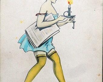 Antique Postcard Bedtime Amag 63224 / 4