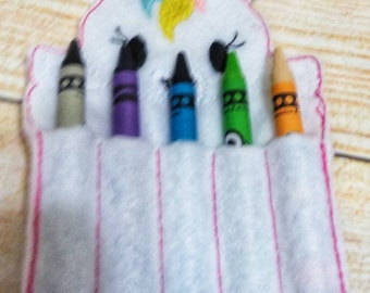 Unicorn crayon holder.