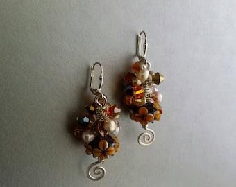 E9492945  Sterling Silver Cluster Beaded Earrings.