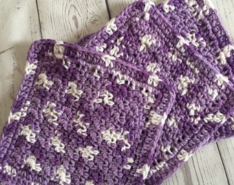 Purple Wash Cloths Cotton Dish Cloths Baby Cloths Crochet Wash Cloth Shades of Plum Set of 3 Made to Order