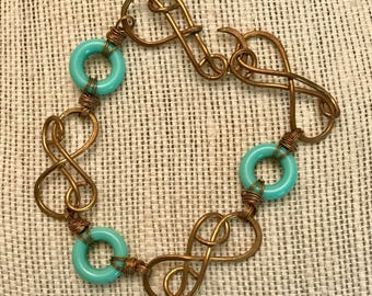 Brass Bracelet with Vintage Teal Glass Rings