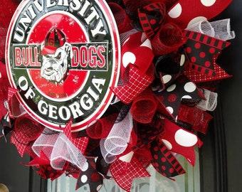 Georgia wreath, Georgia Bulldogs, Football wreath,Everyday wreath, Fall wreath, Front door wreath