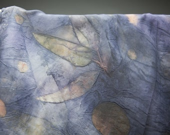 "Long Silk Eco-Printed scarf ""Evening shadow"" - dark purple, golden"