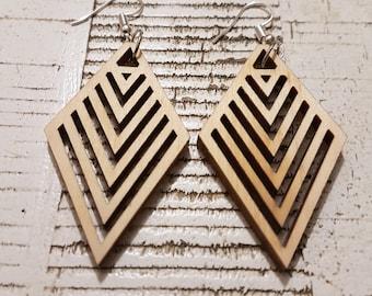 Wooden Diamond Chevron earrings