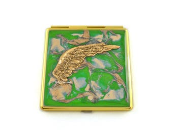 Green Enamel Compact Mirror Embellished with Angel Wing in Rich Antique Gold Hand Painted Quartz Inspired with Color and Personalized Option