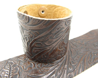 "Tooled Brown Black Leather Cuff Bracelet 2"" Wide,"
