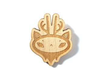 Deer brooch - reindeer pin - woodland animal jewelry - fantastic creature accessory - graphic forest animal jewellery - lasercut maple wood