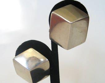 Vintage Sterling Silver Cube ESPO Earrings