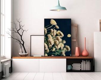 Little White Flowers, flower photograph, summer, bedroom art, dreamy art print, large wall art, boho vintage vibe art, fine art photography