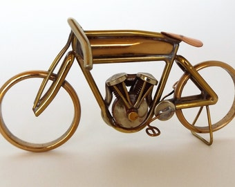 Brass Motorcycle Sculpture of Cyclone Board Track Racer, Hand made with just Brass, Solder and a Torch