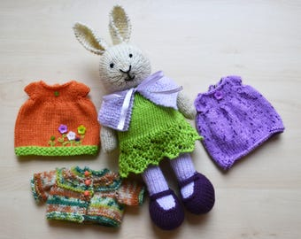 Hand Knit Bunny Girl Set Little Bunny Cotton Outfit Soft Toy Knitted Rabbit in Dress Cute Stuffed Animal Independence Day Gift
