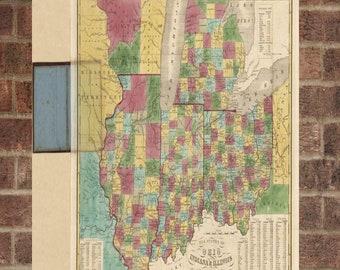 Vintage Ohio Photo, Ohio Map, Aerial Ohio Photo, Old Ohio Map, Ohio Artist Rendering, Ohio Poster, OH Artwork