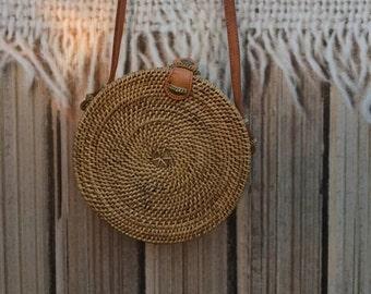 Medium Round Bag, Round Rattan Bag, Bali Rattan Bag, Ata Bag, Round Rattan Bag, Straw Bag