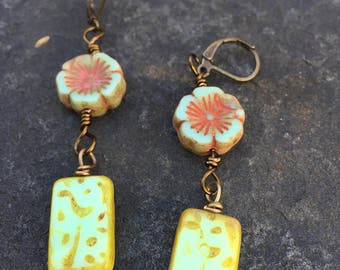 Hawaiian Flower Lei Czech Glass Dangle Earrings   Cruise Wear    Boho Jewelry  Product id: LGHFR217