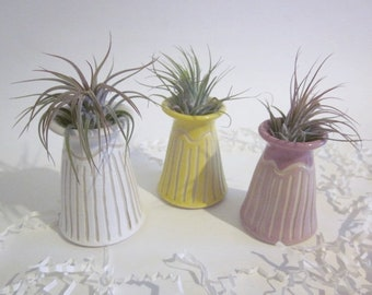 Air plant planter, mint green, yellow, lavender, and pink planter, flower vase, Cubicle decor, Desk decor, planter,  ring dish