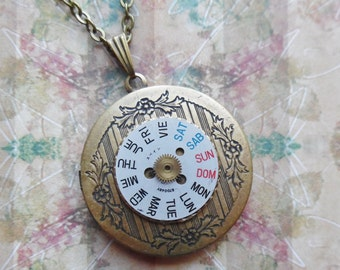75% Off Clearance Sale-Days Gone By, Steampunk Locket Necklace