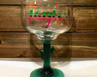 Personalized Neon Serape Cactus Margarita Glass- 16 oz.