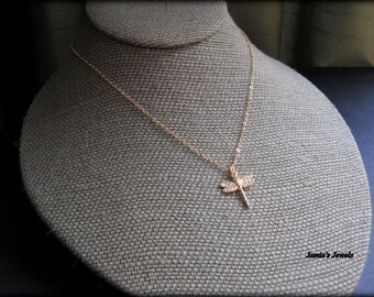 Gold Dragonfly Necklace - Vermeil  - Everyday -  Minimal - Dainty - Nature Inspired  - Layering - Modern - Organic -14K Gold Filled