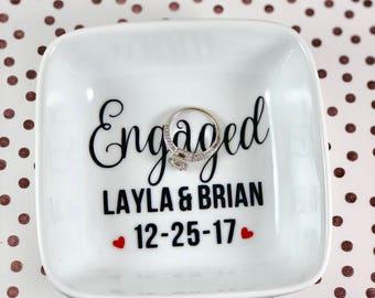 Ring Dish | Jewelry Dish | Ring Holder | Personalized Engagement Ring Holder | Engagement Gift | Bridal Shower Gift | Wedding Ring Holder