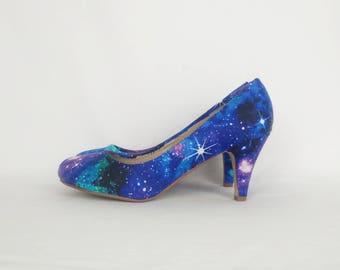 Galaxy Schuhe, Galaxie Fersen, kundenspezifische Schuhe, Nebel Schuhe, Gothic-Schuhe, Schuhe der Frauen, Alternative, Geschenk für sie, böhmische, Hippie-Stil, rockabilly