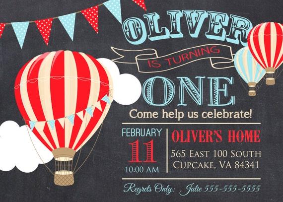 Hot air balloon birthday party invitation 5x7 or 4x6 filmwisefo