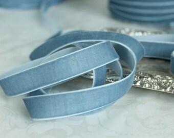 5/8 inch  (16 mm ) French Blue Velvet Ribbon / Single-face velvet ribbon  /  VRXMD58-332