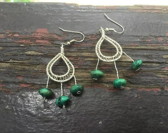 Wire Wrap Earrings - turquoise