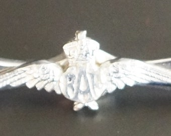 A 20th Century RAF Wings &  Propeller Brooch With Chrome Finish.
