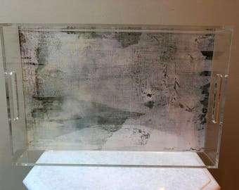 Signed Lucite tray based on original painting by Jennifer Ansardi