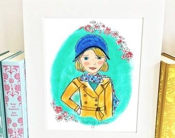ON SALE Nancy Drew - literary heroine - art print - illustrated - HND