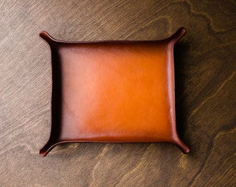 Leather Catchall Large - Tan & Medium Brown / two color, split color, valet tray, ring dish, odds and ends, valentines