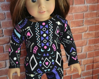 18 inch Doll Clothes - Crazy 80s Long sleeved T-shirt - BLACK PURPLE BLUE - fits American Girl