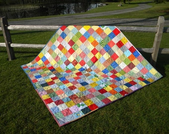 full size quilt, handmade, traditional, scrappy, Classic Americana Patchwork Quilt--picnic size--81X81--personalized for a wedding