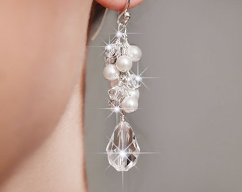 Bridal Earrings, Pearl and Crystal Drop Earrings, Swarovski Crystal Bridal Jewelry, Wedding Earrings, Cluster Earrings